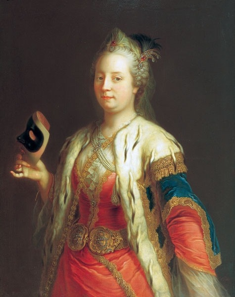 "Maria Theresa of Austria was painted wearing ""Oriental"" costume for a masquerade in 1744 by Martin van Meytens."