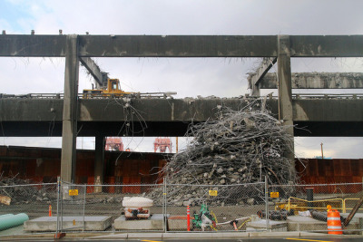 viadoom:  Pile of rebar and concrete which was cleared from the lower deck of the viaduct. by WSDOT on Flickr.