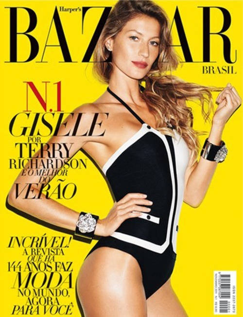 Gisele Bündchen looking gorgeous in a cool bodysuit design on the cover of Brazil's debut of Harper's Bazaar Magazine.