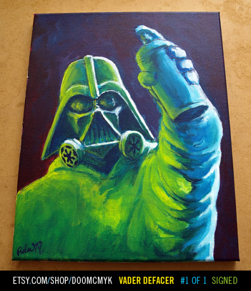 Darth Vader (Vader Defacer) Star Wars fan art painting available at http://www.etsy.com/shop/doomcmykFREE Joker Stickers with item purchase1 of 1, Signed and DatedI made this with Acrylic paint on 11x14 wooden framed canvas