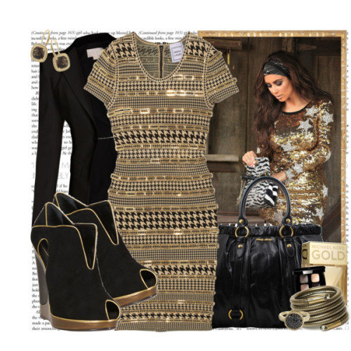 High Fashion by channchann featuring gold ringsHerve Leger houndstooth dress, $4,500Antonio Berardi velvet jacket, £1,199Yves Saint Laurent black leather booties, €795Miu miu handbag, £895EFFY COLLECTION gold ring, $1,110Lanvin brass jewelry, $605Fine jewelry, $575CHANEL LES 4 OMBRES QUADRA EYESHADOW | Nordstrom, €44Michael Kors Gold, $75