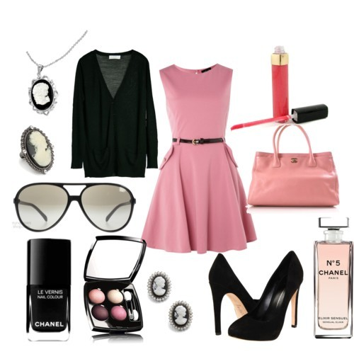 Cameo Nº5 by lil-mexico-009 featuring a black cameo ringStructured dress, £28Månestråle black wool cardigan, 899 DKKDolce Vita stiletto pumps, $173Chanel pink tote, $1,575Cameo onyx necklace, $48Cameo metal earrings, $12Jon Richard black cameo ring, £10Chanel black shades, £197Chanel - Levres Scintillantes - No. 142 Pink Tease 5.5g/0.19oz, $40CHANEL LES 4 OMBRES QUADRA EYESHADOW | Nordstrom, £38