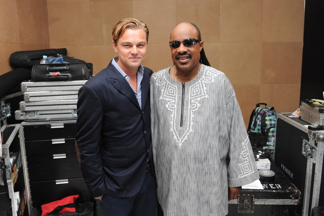 Leonardo DiCaprio and Stevie Wonder