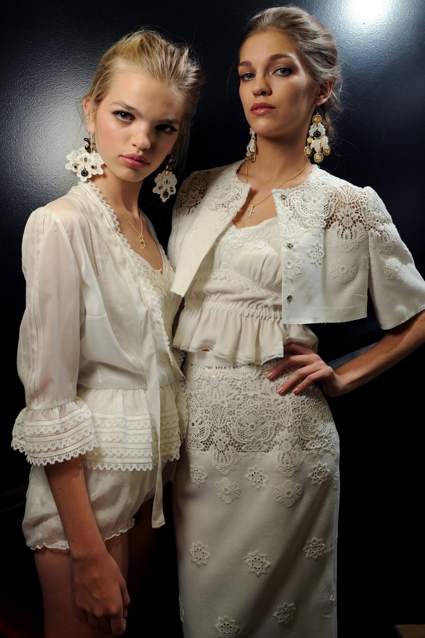 Backstage at Dolce & Gabbana with Daphne and Samantha.