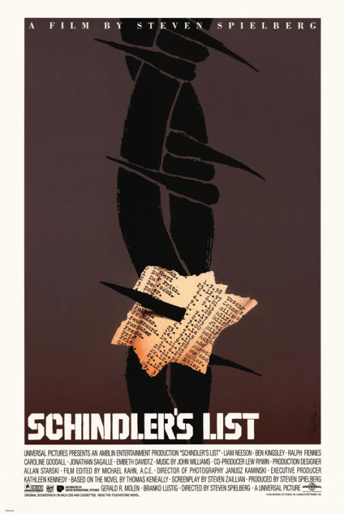 fuckyeahmovieposters:  Schindler's List by Saul BassSubmitted by Picture & Video