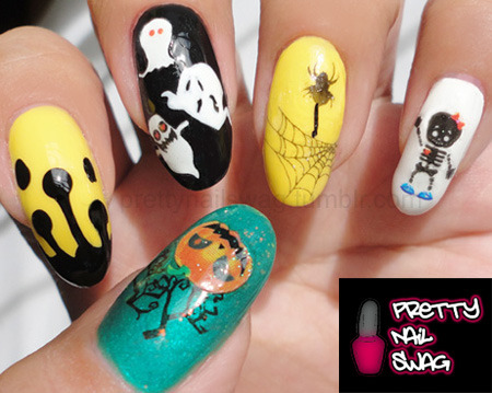 Better pic of yet another halloween mani…used nail art stickers and BM plates…only a few more days til halloween, couple more themed mani's and I'm through with this shit! LOL
