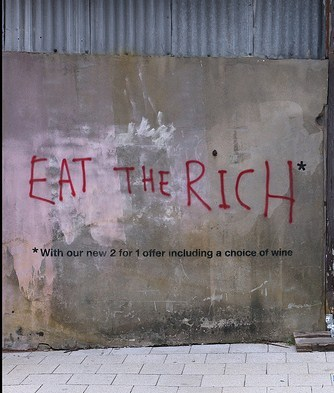 banksy eat the rich deptford, london