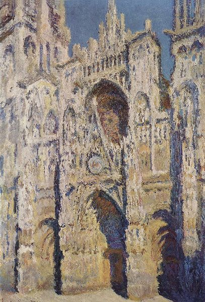 Claude Monet: Rouen Cathedral, the West Portal and Saint-Romain Tower in Full Sunlight Executed in 1893. Today located in the Musée d'Orsay, Paris, France. http://www.monetpaintings.org/