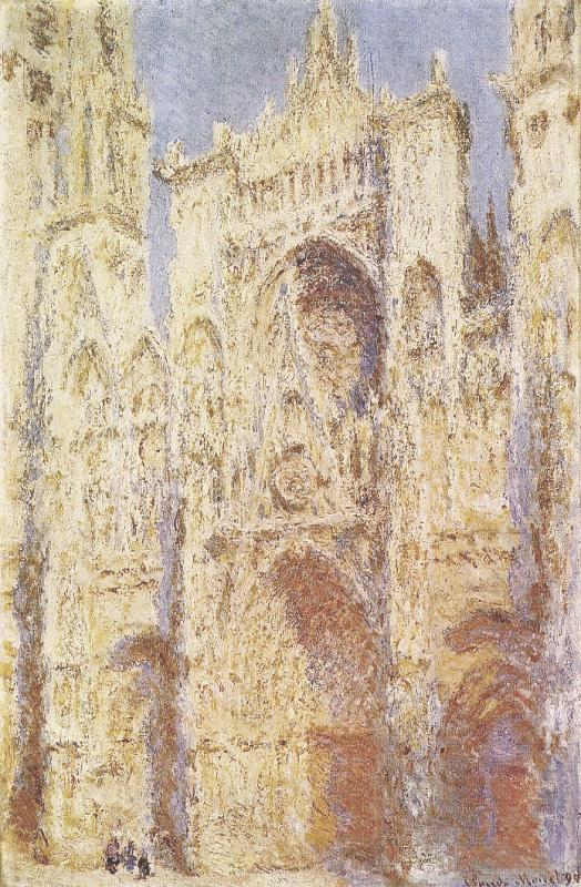Claude Monet: Rouen Cathedral, the West Facade in Sunlight, executed by Monet during 1892. French title: La Cathédrale de Rouen. West Façade, Sunlight. Painting is located today in the National Gallery of Art, Washington, D.C., USA. http://www.monetpaintings.org/