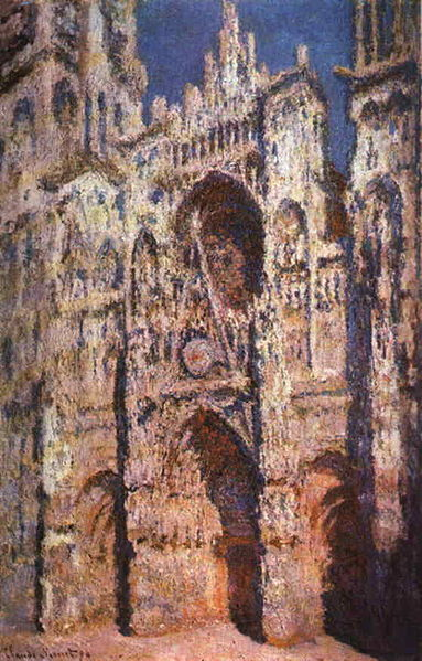 Claude Monet: Rouen Cathedral in Full Sunlight. Completed in 1894. Today located in the Louvre Paris, France. http://www.monetpaintings.org/