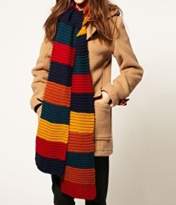 A Tom Baker-esque long scarf for those cold winter days. CAUTION: beware of automatic doors!  Pieces Huon Multi Knit Scarf: $39.53  Of course if you want one that's exactly alike you could always knit one yourself!
