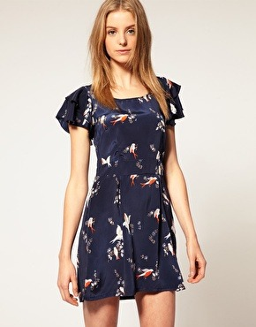 ASOS Vero Moda Bird Print Frill Sleeve Dress