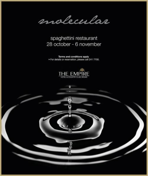 Molecular Promotion @ Spaghetinni Restaurant. From 28 October to 6 November at Spaghettini, experience amazing fusion of Molecular promotion. A revolutionary cooking style using scientific methods and tools in preparing food which spectacular results.  Book your table today at 241 7700.