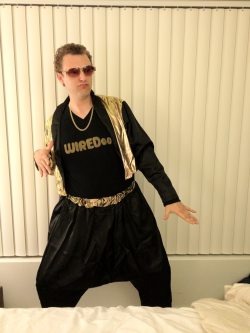 I tore the dance floor up as MC Hammer promoting his new search engine, Wiredoo, at the company Halloween party