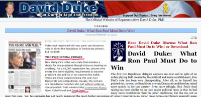 David Duke supports Ron Paul because he's.. NOT racist? - Wake up.  http://www.davidduke.com/general/3339_3339.html