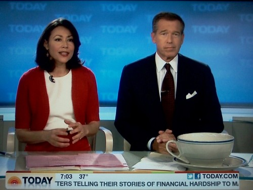 Ann Curry, fill-in anchor Brian Williams, and fill-in anchor Brian Williams's big-ass cup of coffee.