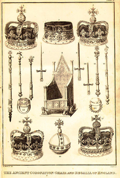 mediumaevum:  Regalia used in the coronation of the English sovereign. Plate IV of A Faithful Account of the Processions and Ceremonies of the Kings and Queens of England; exemplified by that of their most Sacred Majesties King George the Third and Queen Charlotte: with all the other interesting proceedings connected with that magnificent festival. Edited by Richard Thomson. London, 1820.