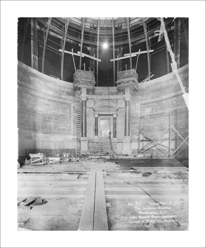 Dated November 2, 1934, this photograph shows progress on the Rotunda of  the National Archives Building in Washington, DC.  Construction on the  building was started in September 1931.