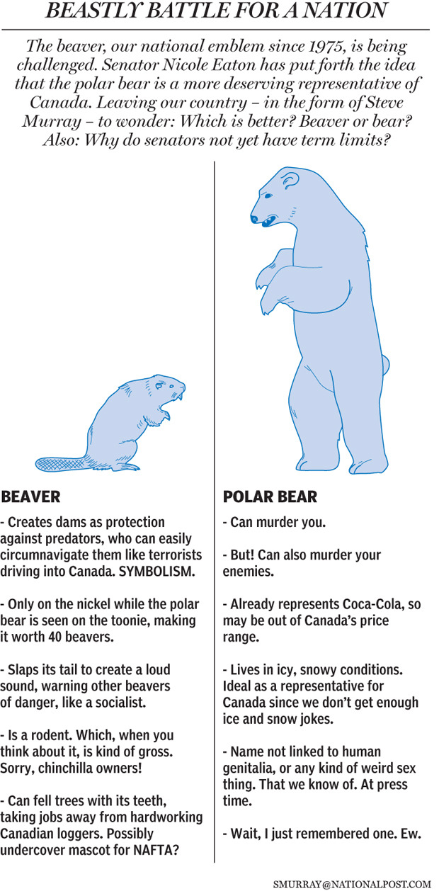 Graphic: Beavers vs. bears. A scrappy new contender — the polar bear — has entered the fight to represent our nation