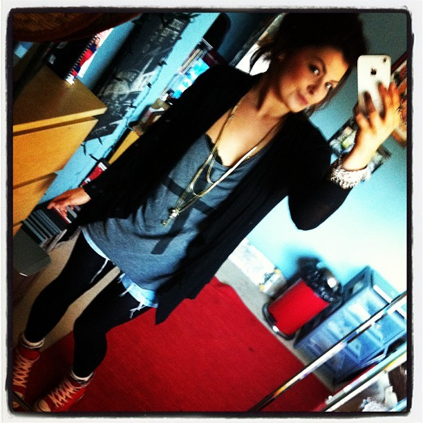 #me #today #cutoffs #converse #cross #tshirt #cba (Taken with instagram)