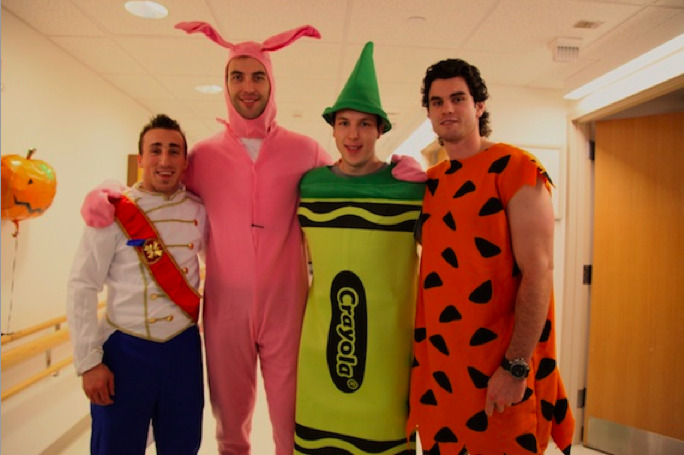 Boston Bruins players Brad Marchand, Zdeno Chara, Jordan Caron and Adam McQuaid visit Patients at Children's Hospital.  This? This is just too adorable, even the seven foot tall pink rabbit that, if provoked, could snap your neckbones.