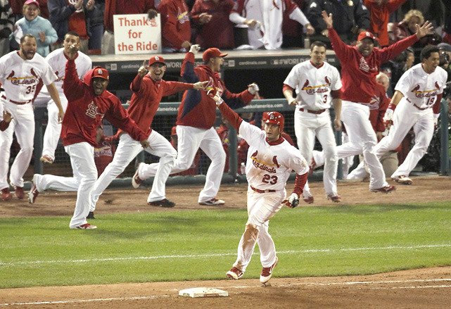 siphotos:  Cardinals 3B David Freese rounds first as the dugout celebrates his game-winning solo home run against the Rangers in the eleventh inning of Thursday's World Series Game 6. Game 7 is tonight in St. Louis. (REUTERS/Jim Young) LEMIRE: Local kid Freese comes up big for CardinalsVERDUCCI: Can Texas recover from Cruz's miscue?VIDEO: Game 6 Report | Players react to Game 6GALLERY: Memorable WS Moments | Classic Game 7s