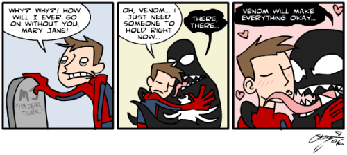 Don't worry Peter, Venom can jerk your cock with that tongue that's HOOOT you will forget about MJ in no time XD