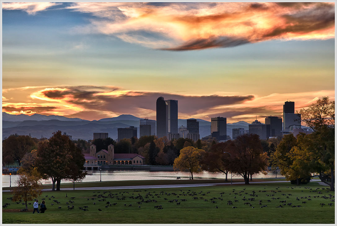 Rocky Mountain sunset. City Park, Denver.