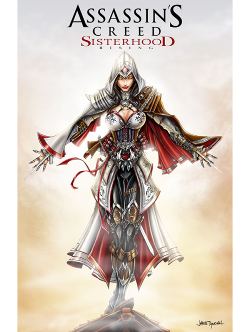 """Assassin's Creed Sisterhood Rising"" comes to fruition thanks to artist Jamie Tyndall. Created for the Long Beach Comic Con where 11"" x 17"" prints will be available. You can also purchase a print from his online store for $15. Assassin's Creed Sisterhood by Jamie Tyndall (deviantART) (Twitter)"