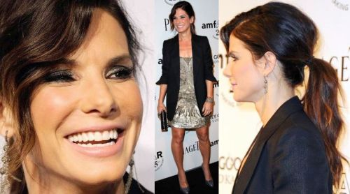 Sandra Bullock at the Amfar charity gala yesterday Love the makeup and the ponytail!