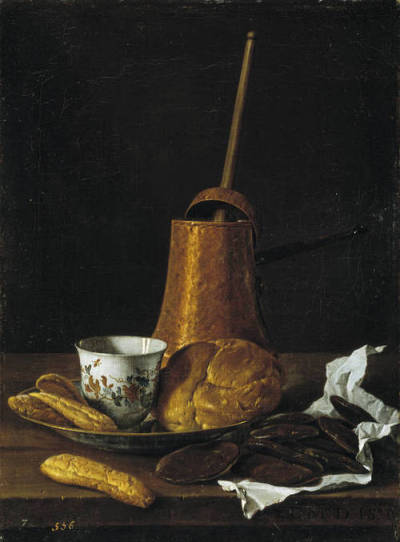 "Luis Meléndez, Still Life with Chocolate Service, 1770 My Spanish painting class with the amazing Dan Hofstadter continues to amuse and interest me. Today we looked at Meléndez and his amazing still lifes, really advanced and detailed for the time. Many consider him the master of the Spanish still life genre. This is what Dan has to say about the awesome one shown above: ""This is like your most adorable breakfast. Don't you just want to be there?"" -India K, '12"