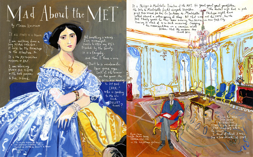 "fyeahwomenartists:  Maira Kalman""Mad About the Met,"" Departures, June/July 2008  (via Maira Kalman)  Lovely!"
