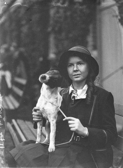 A schoolgirl exhibitor with her dog, c. 1930, by Sam Hood by State Library of New South Wales collection on Flickr.