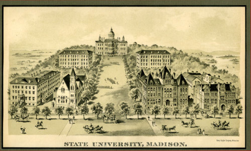Engraving of Bascom Hill, 1895. Perhaps one of my favorite views of campus, this engraving shows Bascom Hall at the top, South and North Halls on either side of the hill, and at the bottom, from left to right, old Chadbourne Hall (then called Ladies Hall), Music Hall (with the Law Building just visible behind it), Science Hall, and the Chemical Engineering Building, with the Art Education Building & Laboratory visible behind it. For more information about this image or UW-Madison campus history, visit http://archives.library.wisc.edu. Posted by Molly Temple for UW Archives.