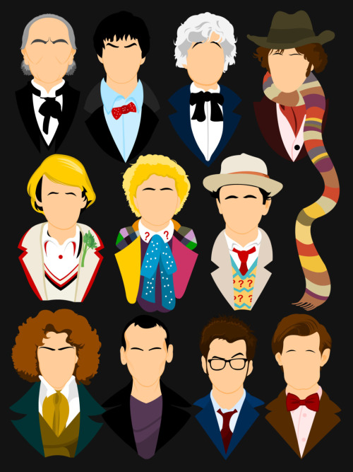 tomtrager:  The Eleven Doctors Eleven incarnations on one shirt.  Available via RedBubble Also available as an iPhone Case!