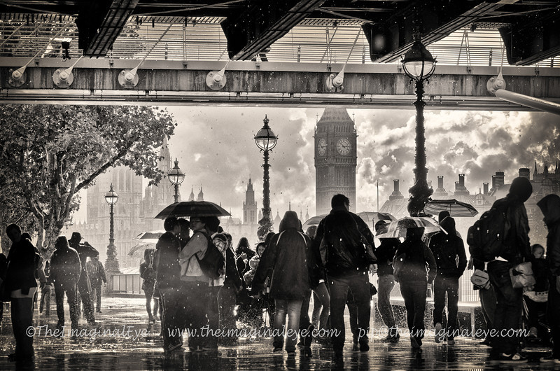 Rain on the South Bank, LondonPeople sheltering beneath Hungerford Bridge.