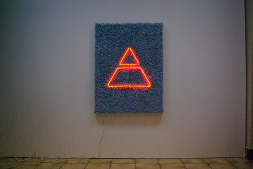evanengstrom:  Orange on Blue 2011 Neon, wood, carpet 60 x 39 in.