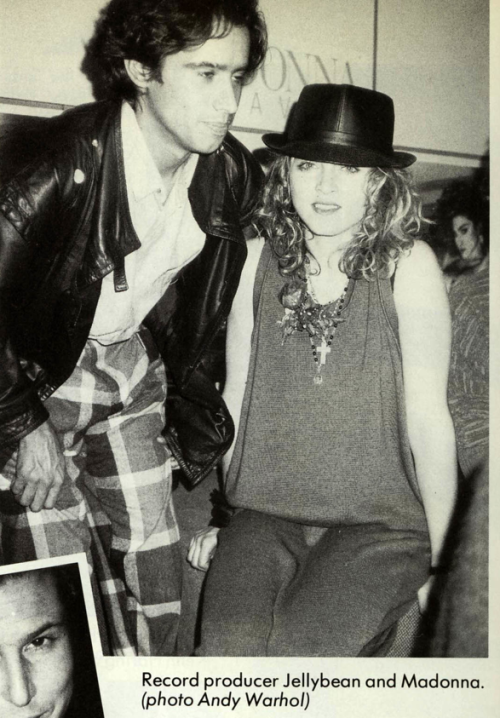 Madonna & Jellybean photographed by Andy Warhol at the Like a Virgin record release party.