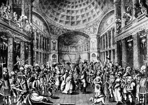 A 1771 engraving of a masquerade at the Pantheon, Oxford Street in London shows how intricate costumes had become by the late 18th century. Grotesque masks and large props were the norm and characters continued to become increasingly elaborate and bizarre.