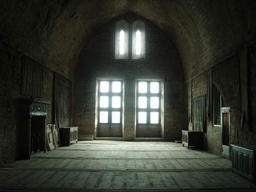 Interior of an old banquet hall inside a currently empty and abandoned French castle, with a wonderful arched vaulted ceiling  (by Kristal Images)