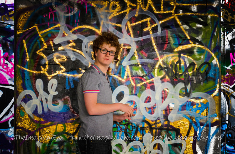 My son, ZakZak amid graffiti underneath the Southbank Centre, London