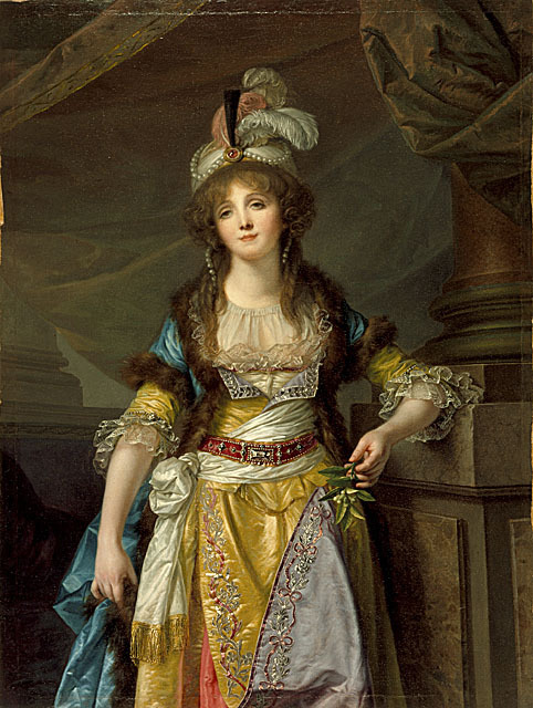 A woman in a Turkish themed fancy dress costume, painted by Jean-Baptiste Greuze circa 1790.