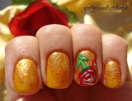 Rose nail art. Inspired by Belle. ♥