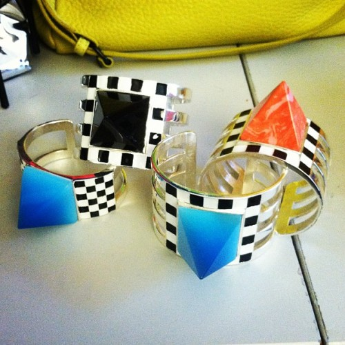 Inside Teen Vogue: Checkered and spiked cuffs from Holly Fulton S/S 2012.