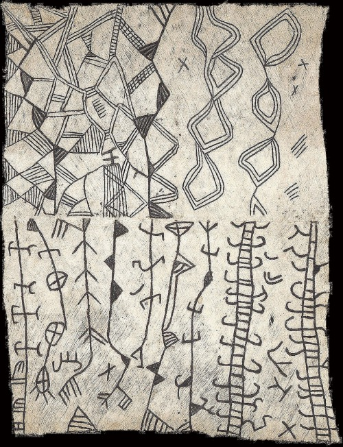 ymutate: BARK CLOTH Painted bark cloth Ituri pygmy Congo c.1950 source:joss graham
