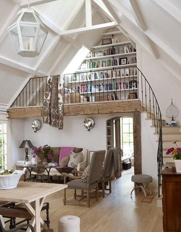 Living room with a bright and spacious loft library (via eclectic - living room - other metros)