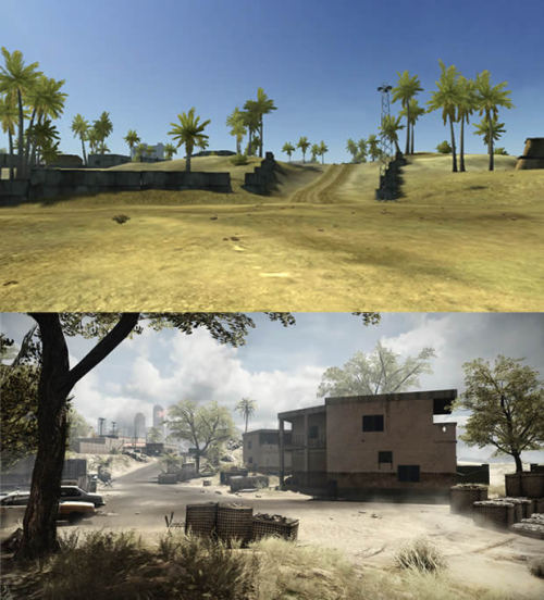 brogamer:  More Back to Karkand comparisons courtesy of BF3Blog. This a comparison of Gulf of Oman. There's a lot more environment decoration in DICE's 2011 juggernaut. On top of this, there's a hell of a lot of graphical improvement. DICE have explained the stark differences as the map being set a few years after Battlefield 2. For more news and features - follow BroGamer. Or feel free to submit a piece, join the Brommunity.