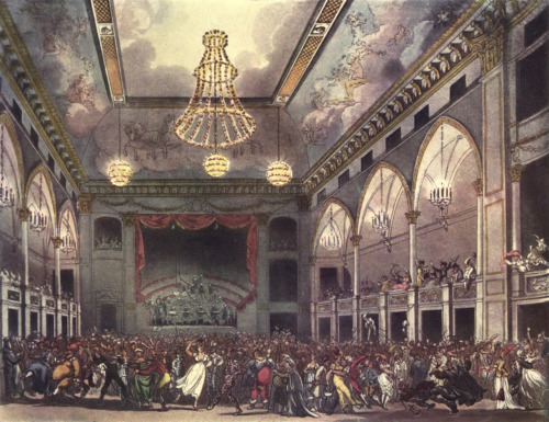 A Thomas Rowlandson print depicting a wild masquerade at the Pantheon in London in 1809.