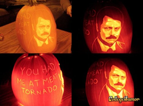 Ron Swanson Jack-o-lantern It immediately makes any room manly.