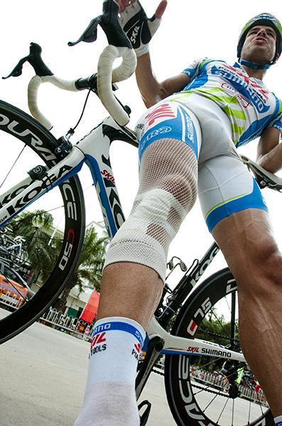 Big Tom Veelers (Skil-Shimano) displays a mighty fine bandage after his crash nearing the finish to stage six. (via Tour Of Hainan 2011: Big Tom Veelers (Skil-Shimano) Displays A Mighty Fine…, Photos | Cyclingnews.com)